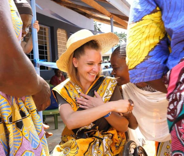 Cambry greeting local Kenyans at the opening of a brand new school