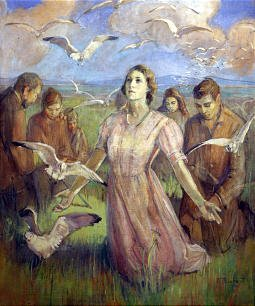 """Minerva Teichert painted """"The Miracle of the Gulls."""""""