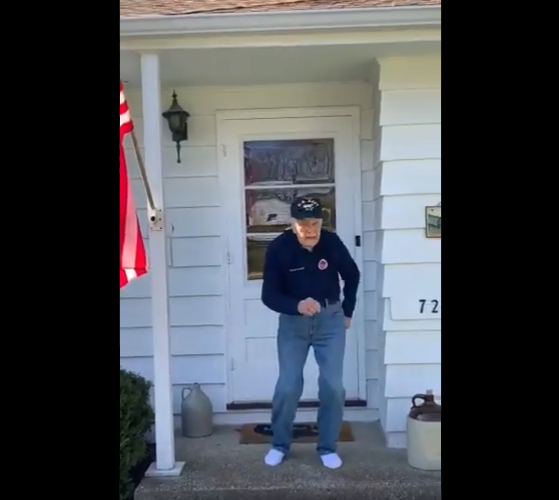 """97-Year-Old Navy Pilot Billed """"Dancing Chuck"""" Doesn't Let Quarantine Get Him Down"""