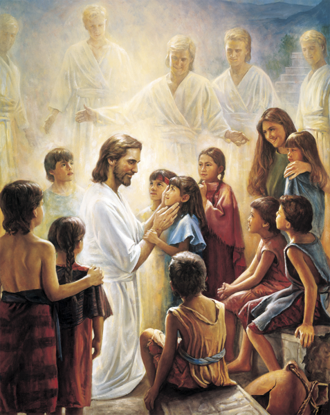 """Christ and the Book of Mormon Children,"" by Del Parson"